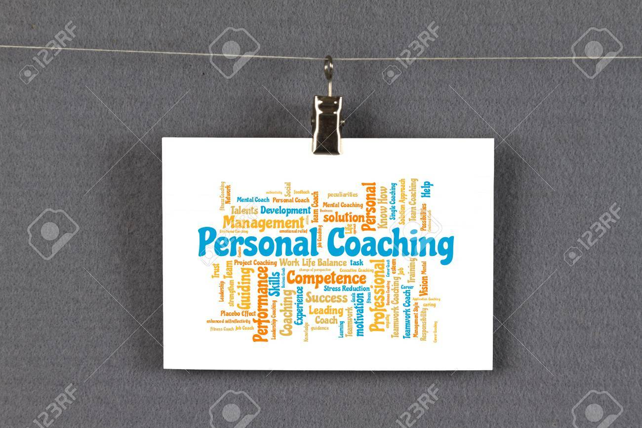Business card with personal coaching word cloud on a pinboard stock business card with personal coaching word cloud on a pinboard stock photo 65627927 reheart Choice Image