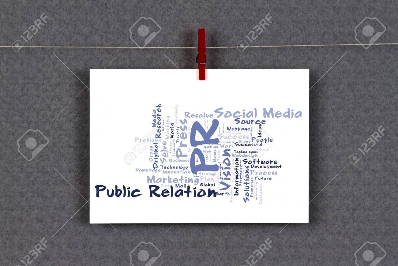 Relation Publique Nuage De Mots Sur Une Carte Visite Epinglee