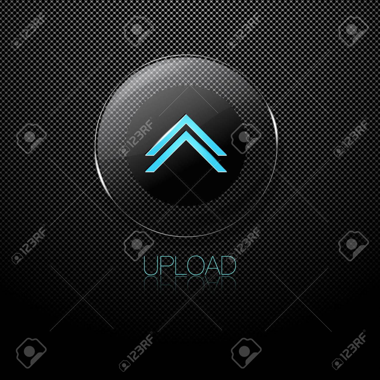 Metal background with glass UPLOAD button Stock Vector - 12292060