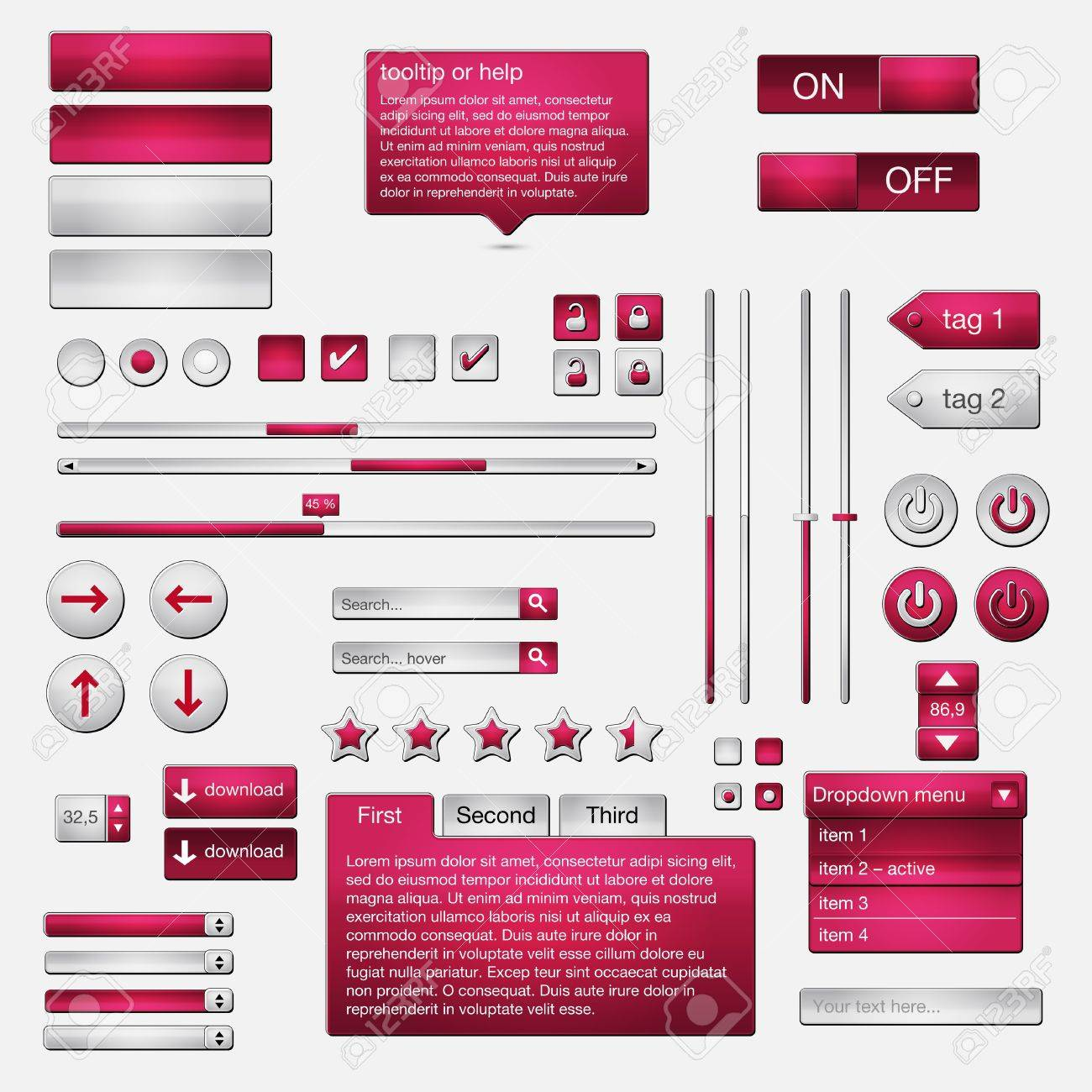 Set of web elements - vector file - easily customizable Stock Vector - 12292064
