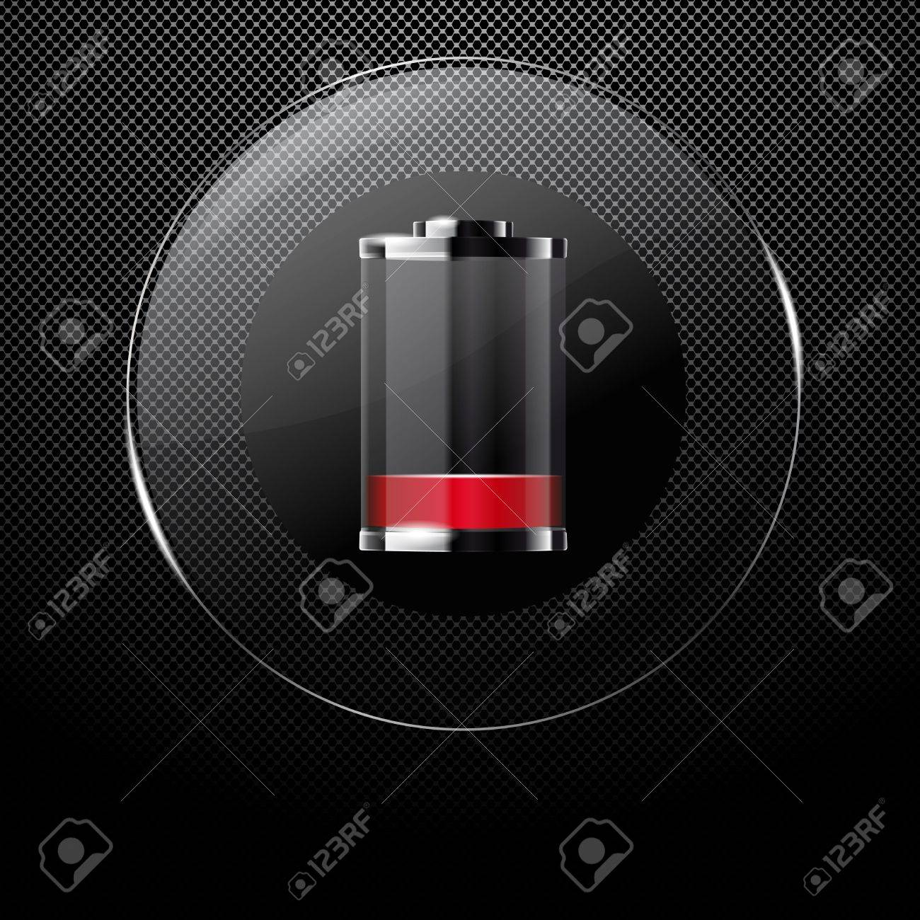 Metal background with glass NEARLY EMPTY BATTERY button Stock Vector - 12292213