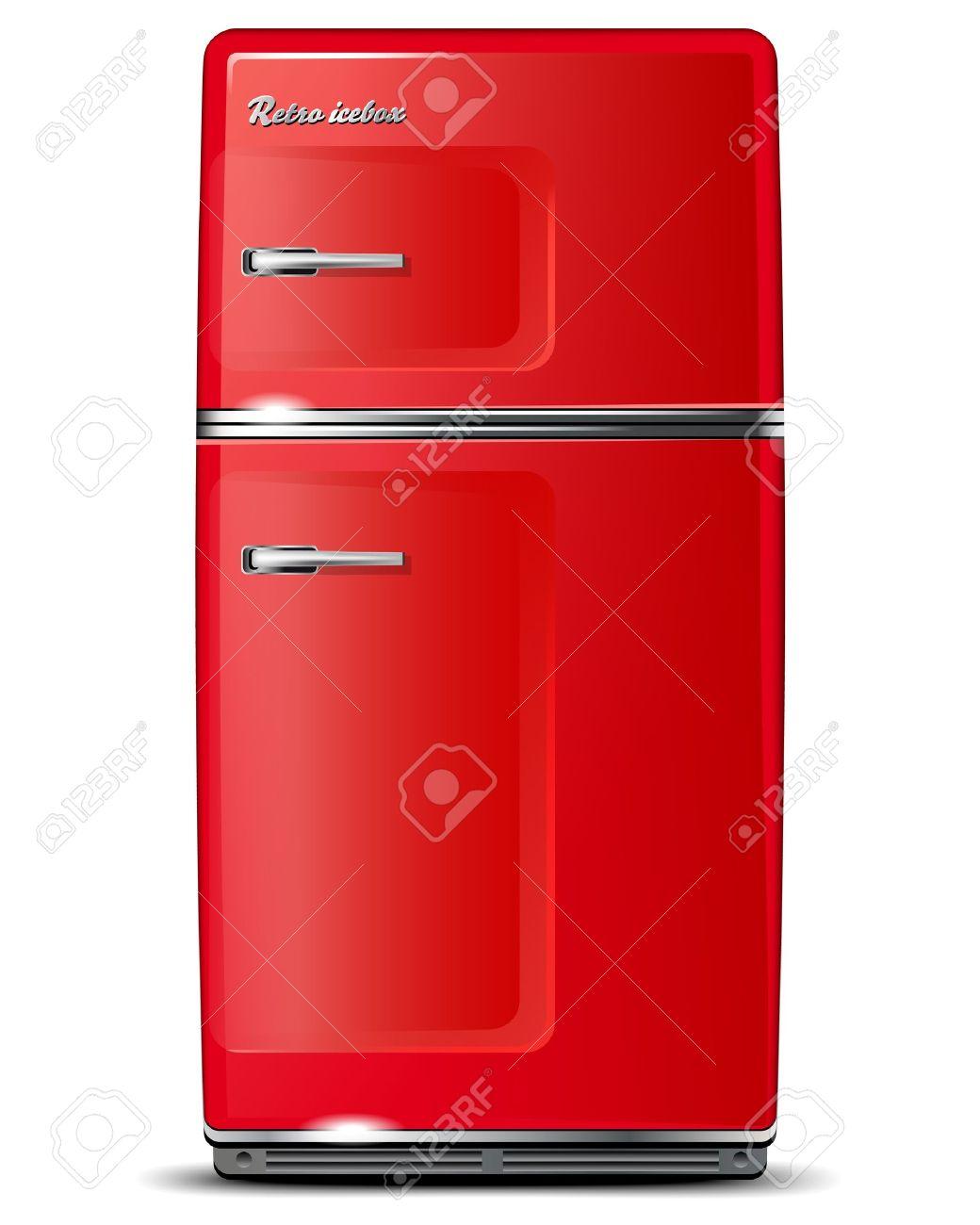 Red Retro Kühlschrank - Isoliert Auf Weiß - Vektor-Datei Lizenzfrei ...