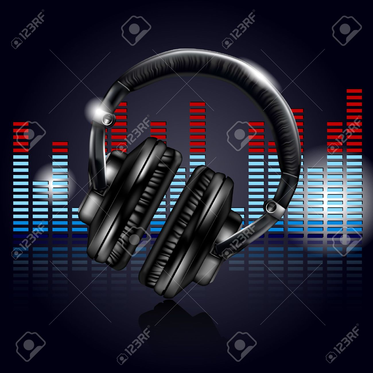 Headphones and equalizer Stock Vector - 14044541