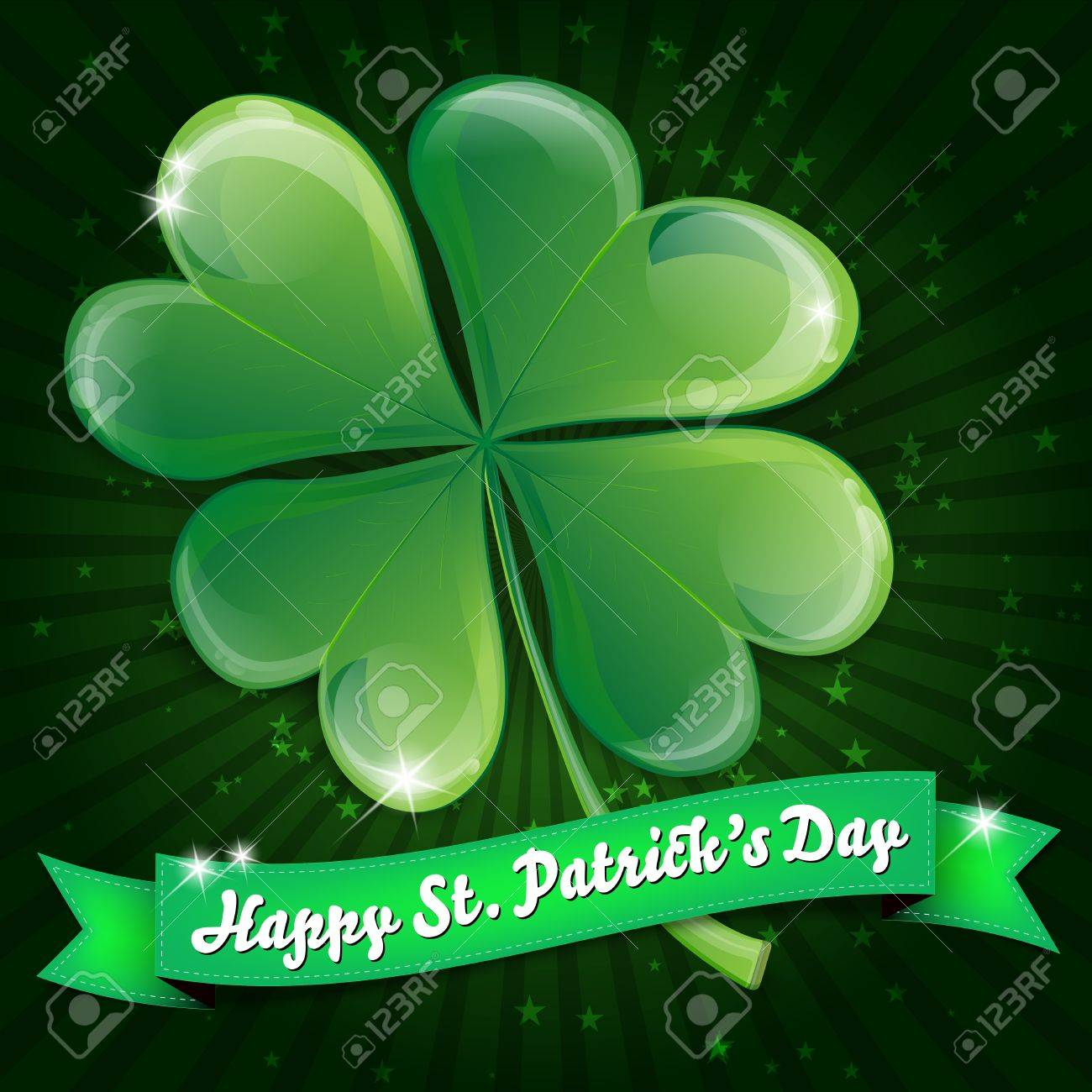Wishes on St  Patrick s Day - clover leaf and ribbon Stock Vector - 16571066