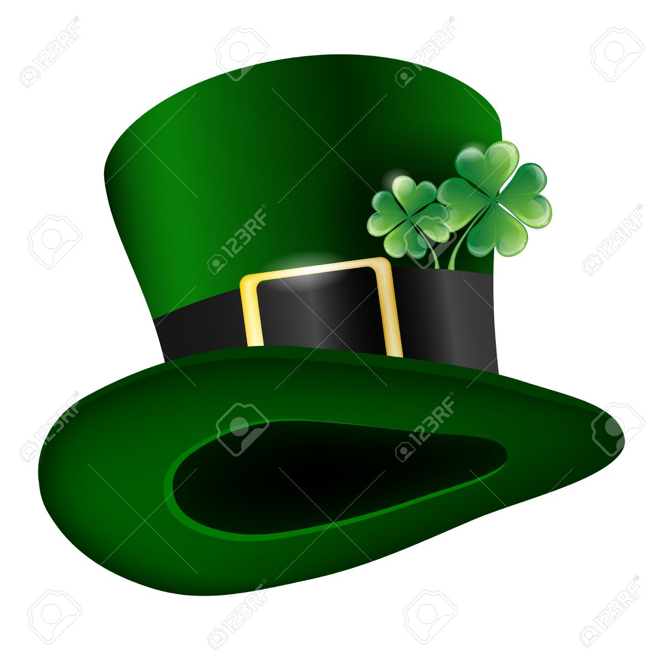 green hat with clover leafs - Saint Patricks Day symbol Stock Vector - 16533416
