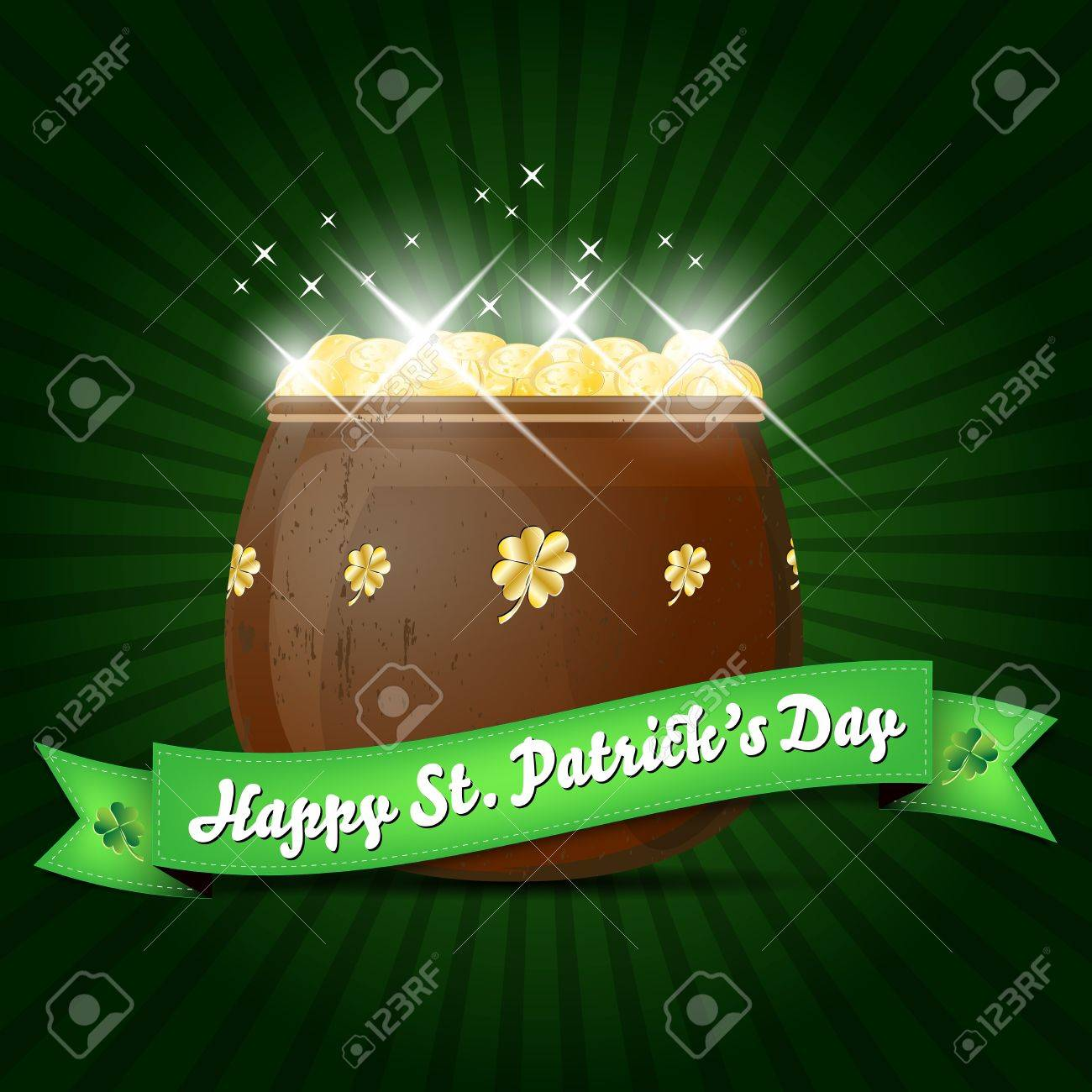 Wishes on St  Patrick s Day with pot of gold Stock Vector - 16533424