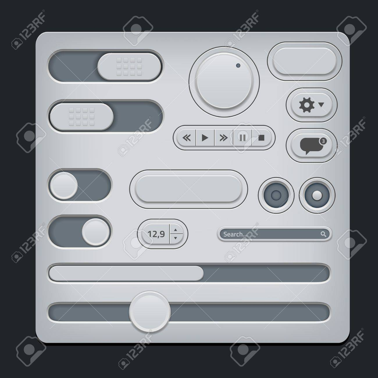Set of gray ui web elements - sliders, switch, buttons etc Stock Vector - 20041751