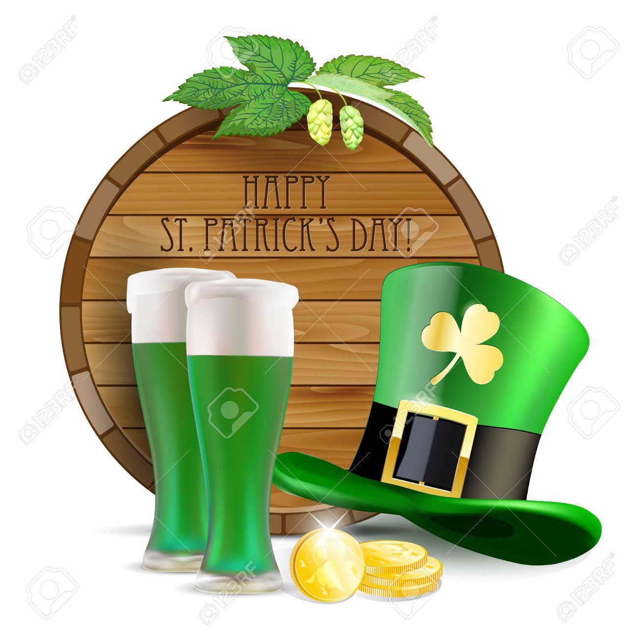 diversifié dans l'emballage pas cher à vendre remise spéciale Tonneau en bois, le houblon, chapeau vert, bière verte et de pièces d'or -  St.Patricks souhait Jour - isolé sur blanc. Vector illustration.