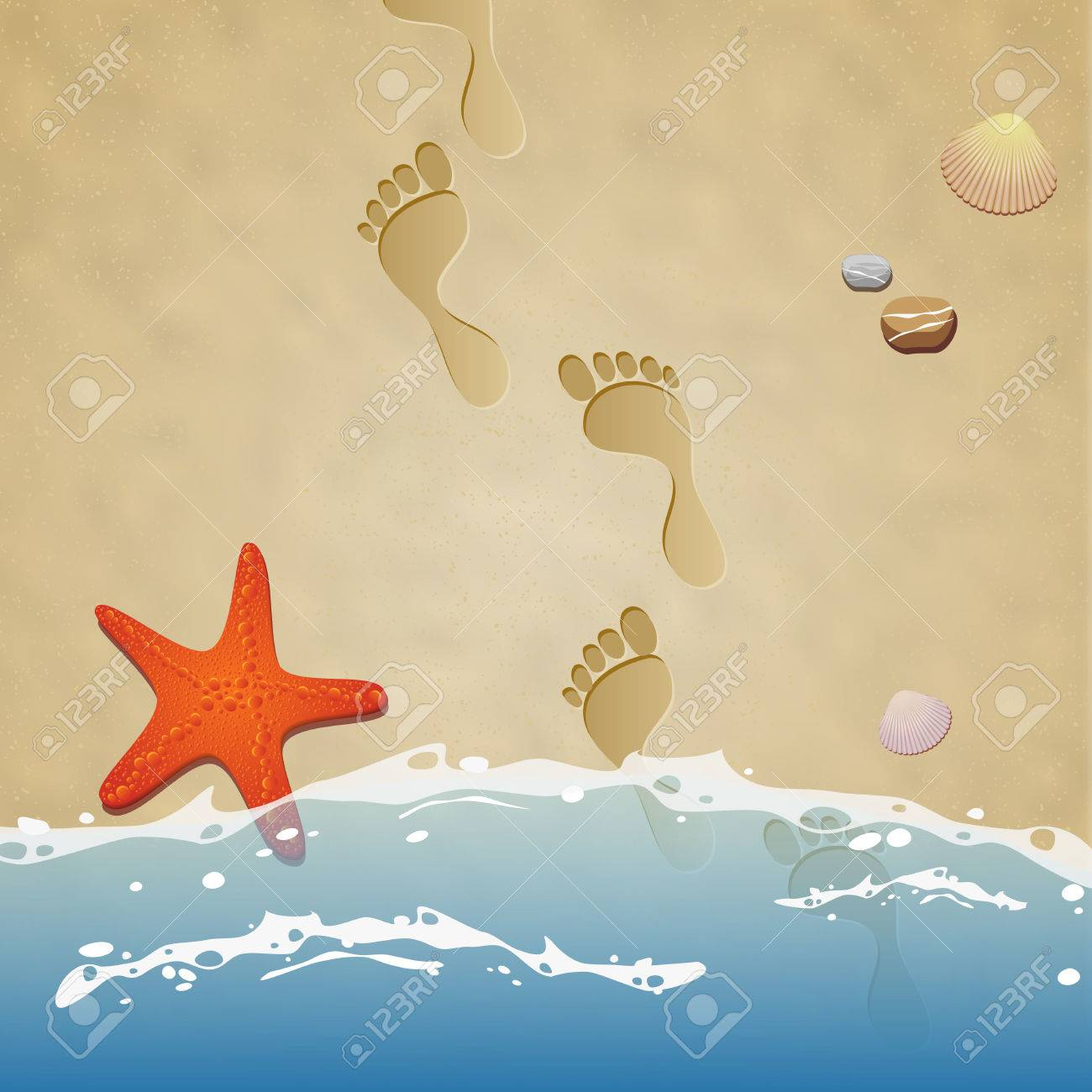 537 Footprints In The Sand Stock Vector Illustration And Royalty ...