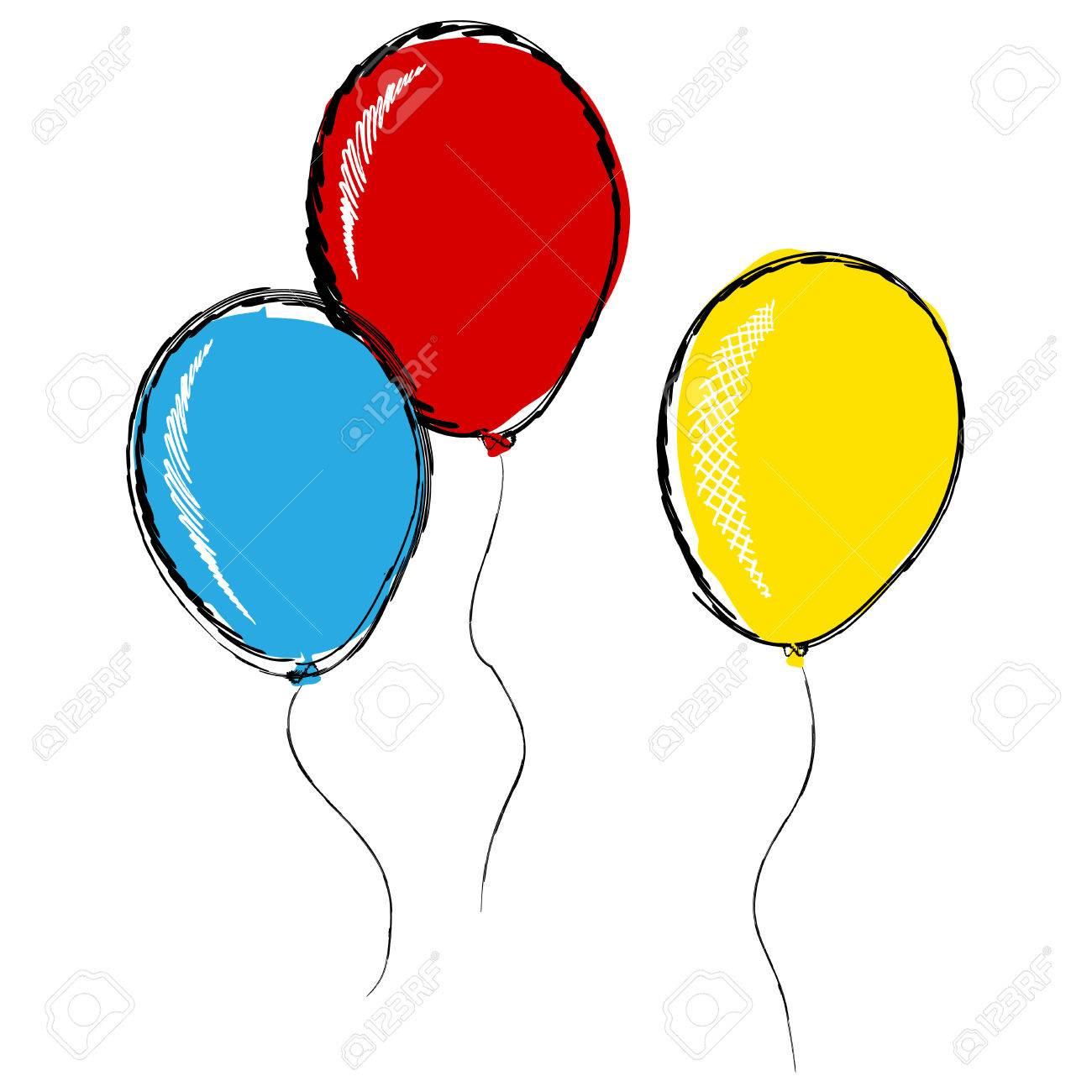Trois Ballons Gonflables Dans Le Style De Dessin Au Crayon Isole