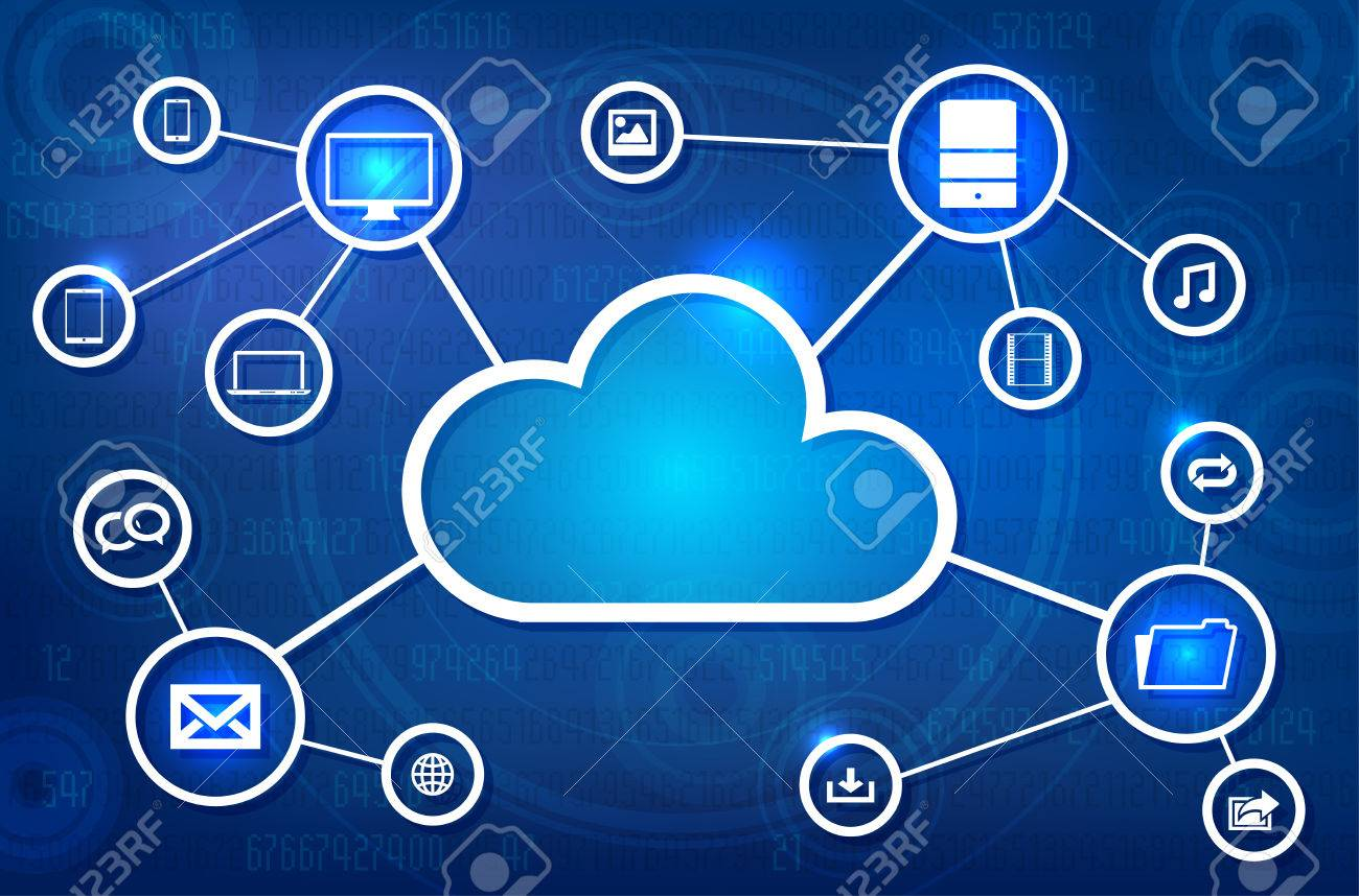 Cloud solution abstract concept - vector illustration - 43327738