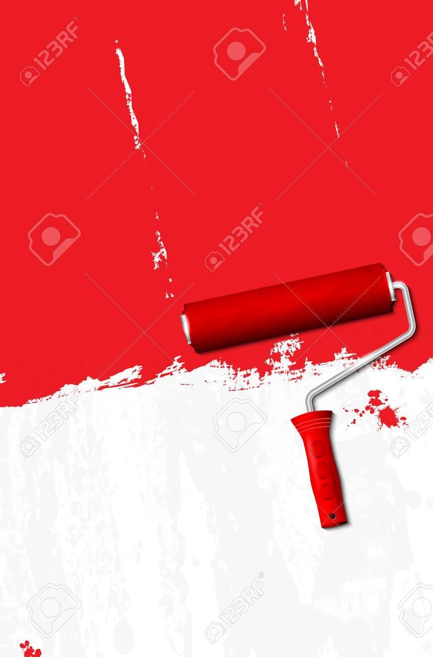 Farbroller   Streichen Der Wände Rot. Vektor Illustration. Standard Bild    44291362