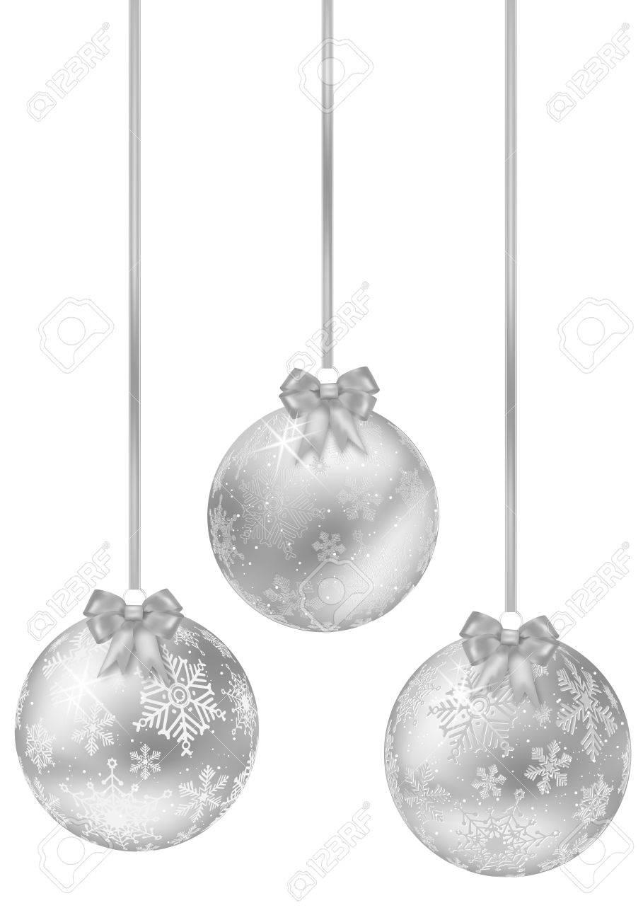 Silberne Weihnachtskugeln.Stock Photo