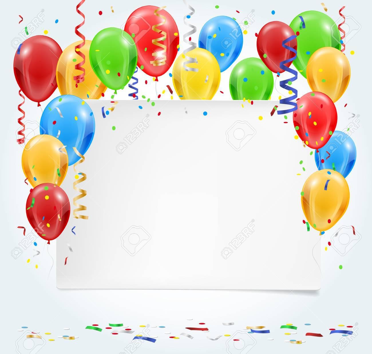 Paper invitation inflatable balloons confetti party background paper invitation inflatable balloons confetti party background with place for your text stopboris Choice Image