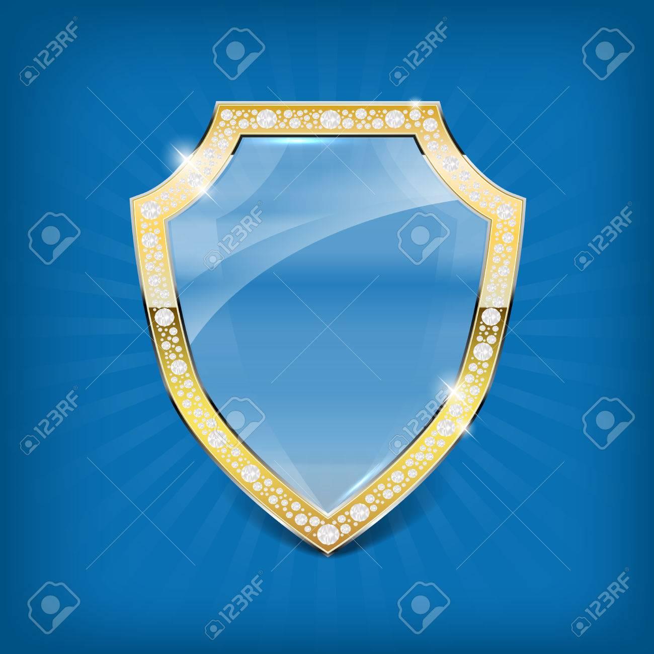 Protector De Vidrio Con Marco De Oro Y Diamantes En El Fondo Azul ...
