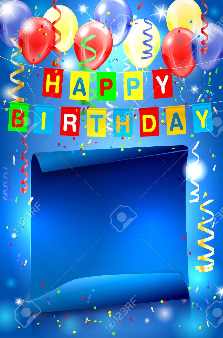 Happy Birthday Party Background With Lights Confetti Inflatable Balloons And Bent Paper For Your
