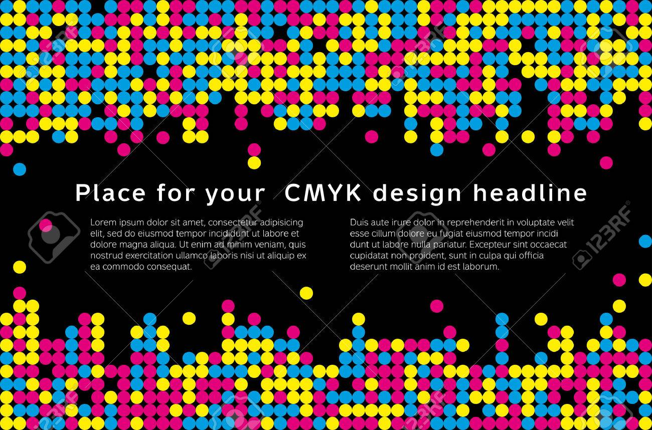 Abstract mosaic background from CMYK colors with place for text - print concept. Vector illustration. - 53852007