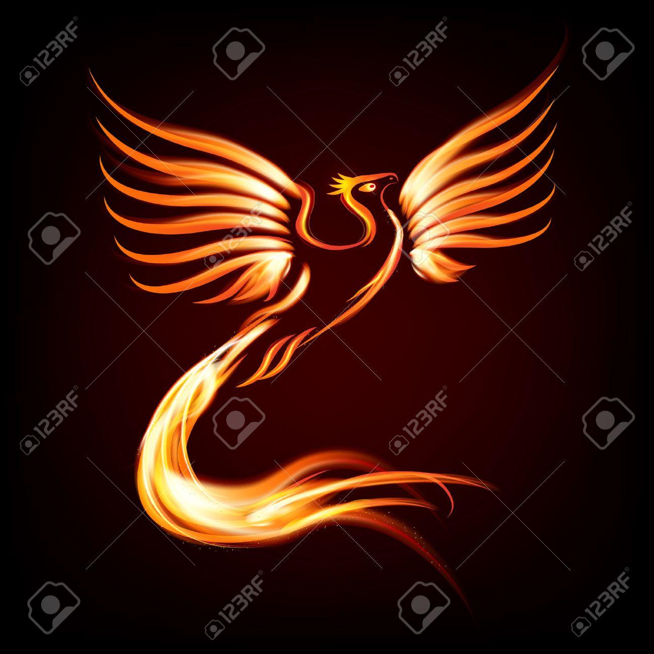 phoenix bird fire silhouette vector illustration royalty free