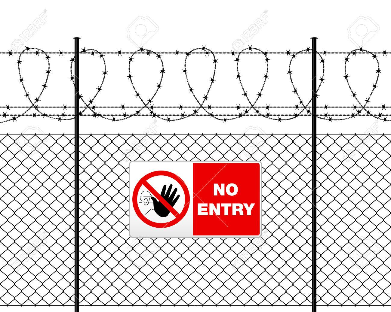 Fence with barbed wire and sign NO ENTRY. Metal sign NO ENTRY on metal fence with barbed wire. Wire fence isolated on white. - 57639628