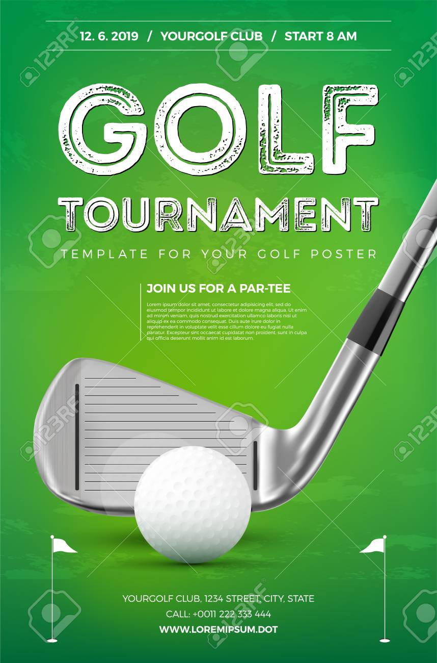 Golf tournament poster template with sample text in separate