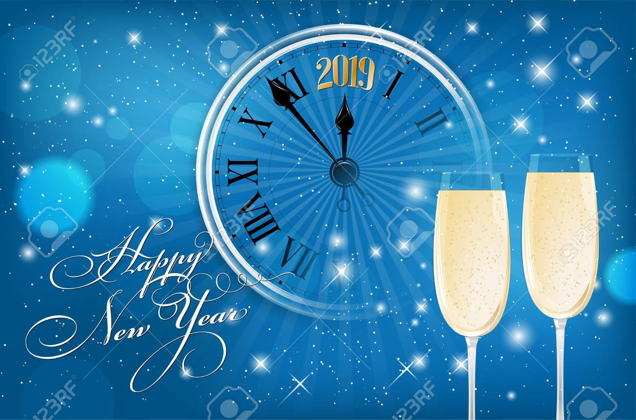 happy new year 2019 card blue shiny background with wish segment of old clock