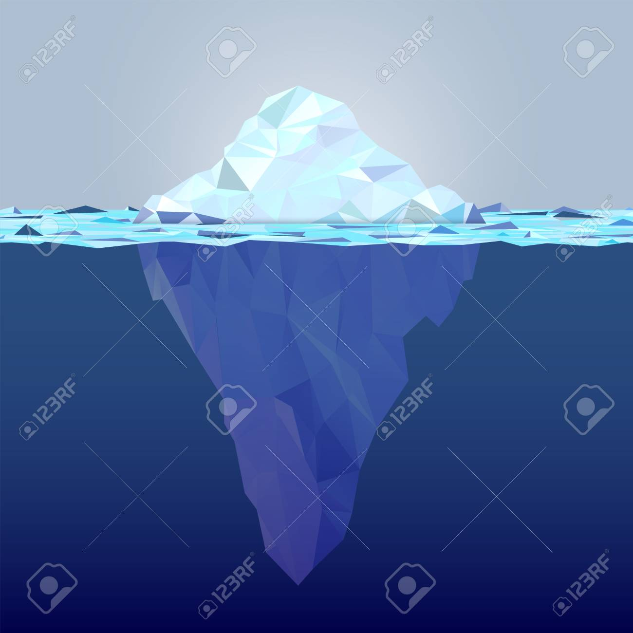 Underwater iceberg made from triangle shapes - global warming concept. Copy space for your text. Vector illustration. - 121427817
