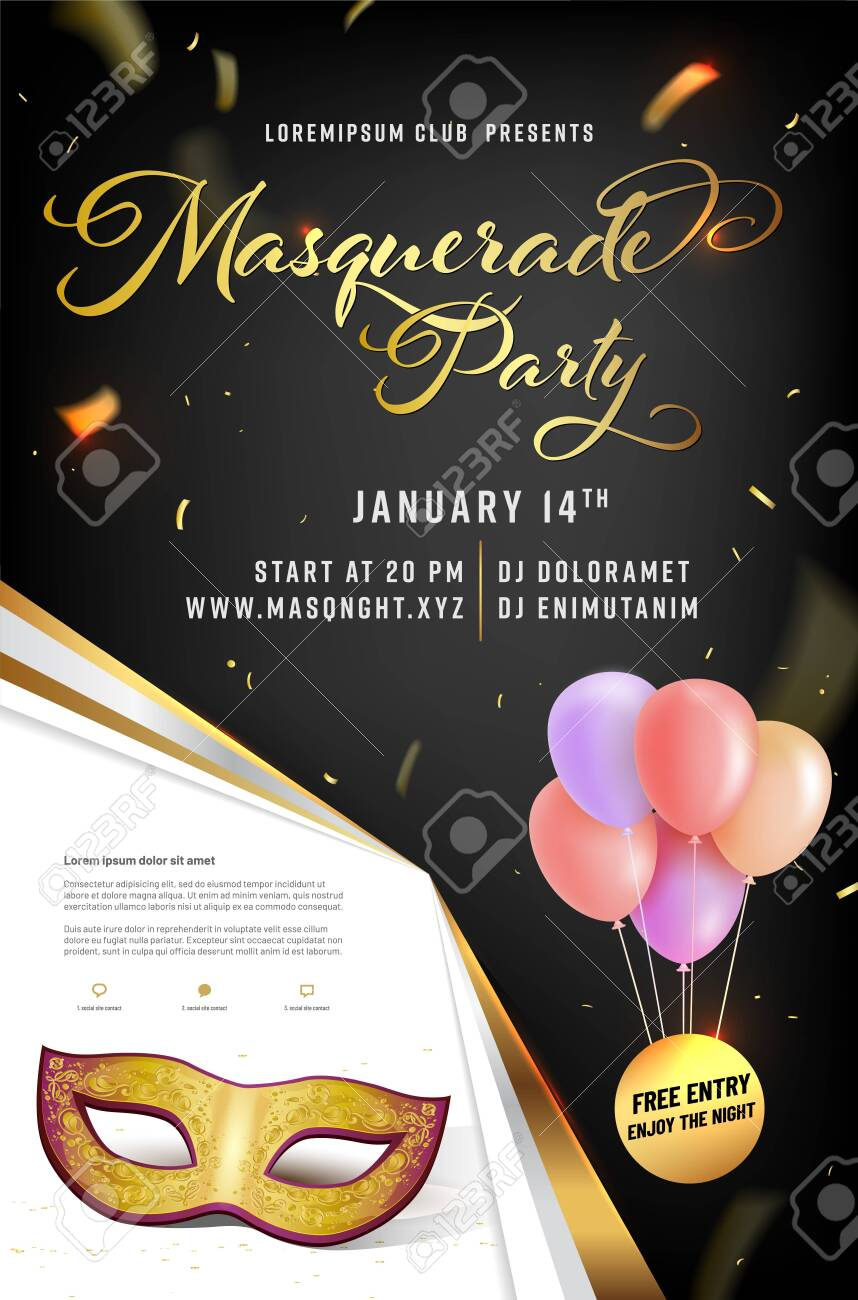 Masquerade party poster template with mask, confetti, air balloons and place for your text - vector illustration - 128710496