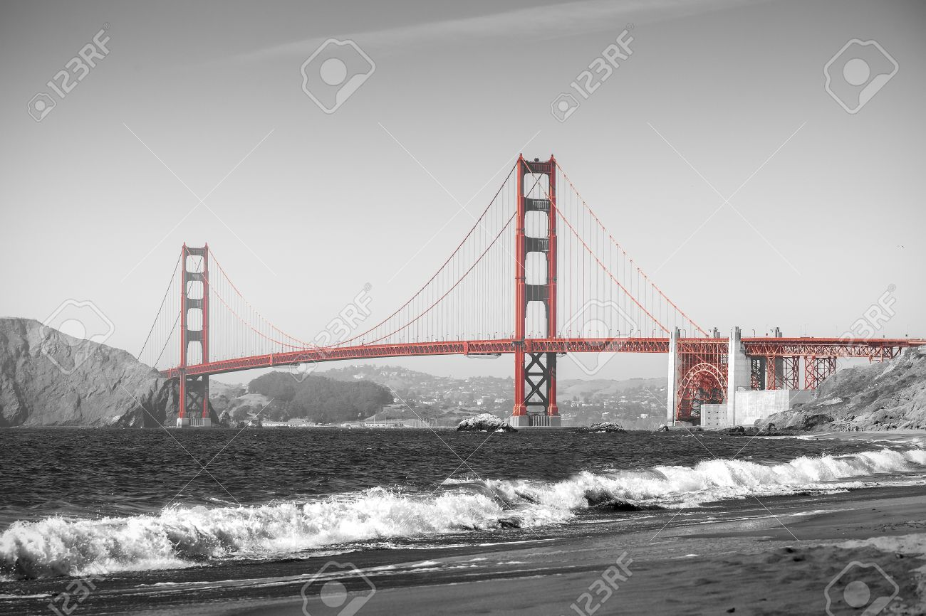 Red Golden Gate Bridge In San Francisco Black And White Filter