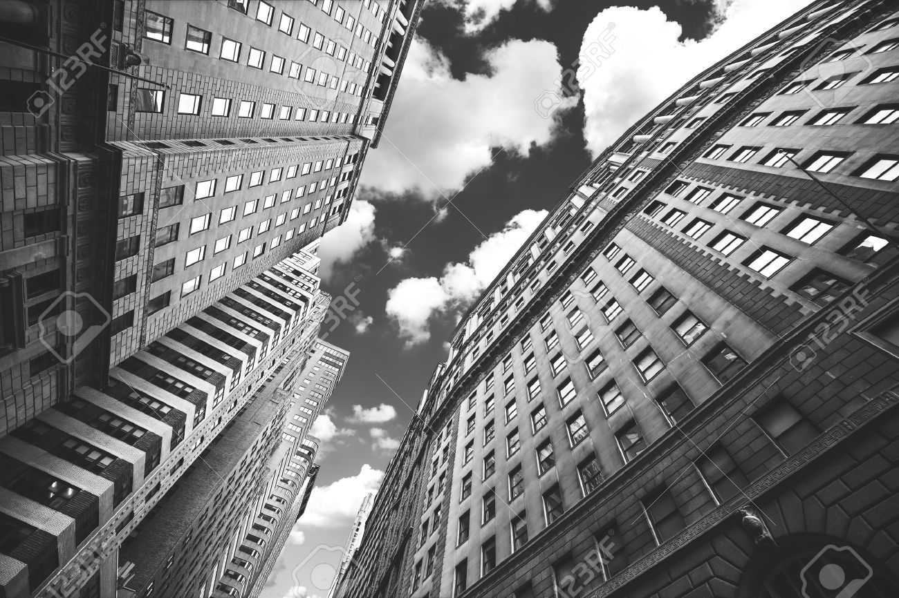 Black and white photo of buildings in manhattan nyc usa stock photo