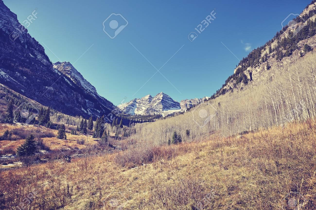Vintage Toned Maroon Bells Mountain Landscape Aspen In Colorado