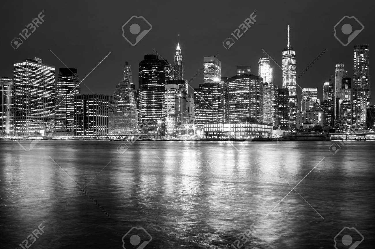 Black and white iconic new york city skyline at night usa stock photo