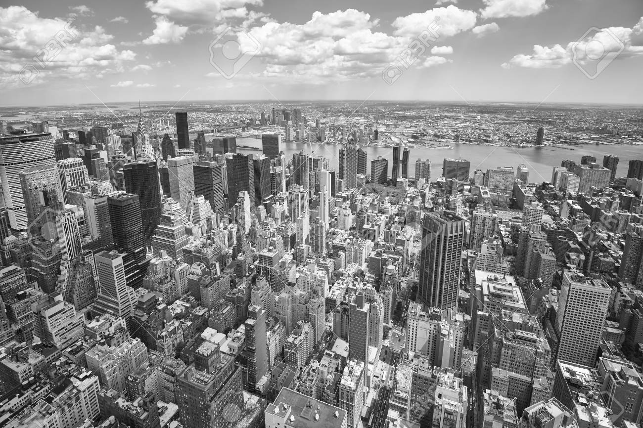Black And White Aerial View Of The Manhattan New York City Usa