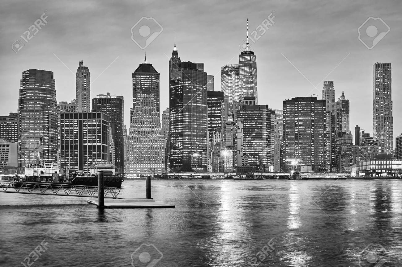 Black and white new york city skyline at night usa stock photo 96961609