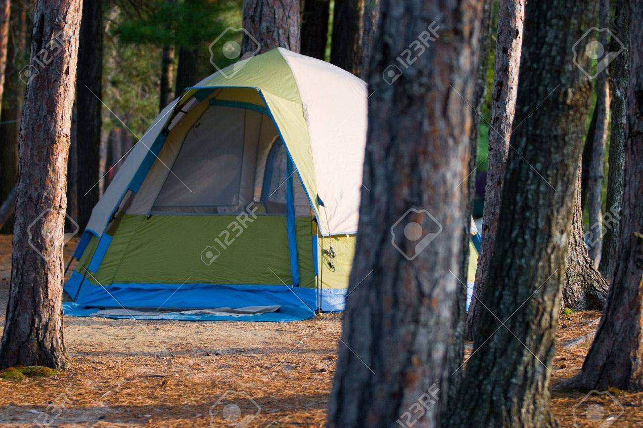 camping in the woods. Stock Photo - Tent Camping In The Woods At A Wilderness Campsite