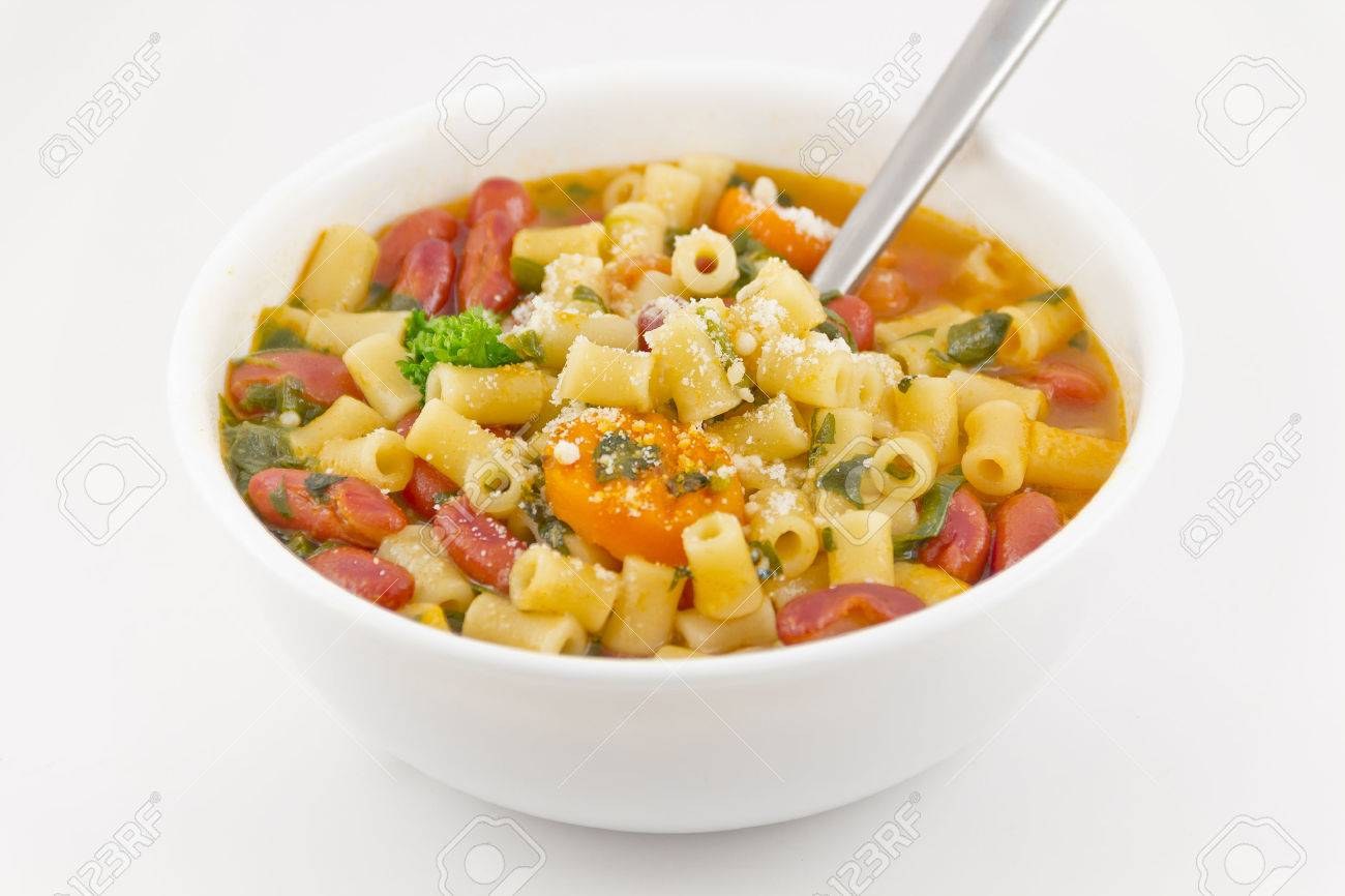 Delicious pasta fagioli ready to be eaten with parmesan cheese to top Stock Photo - 30451666