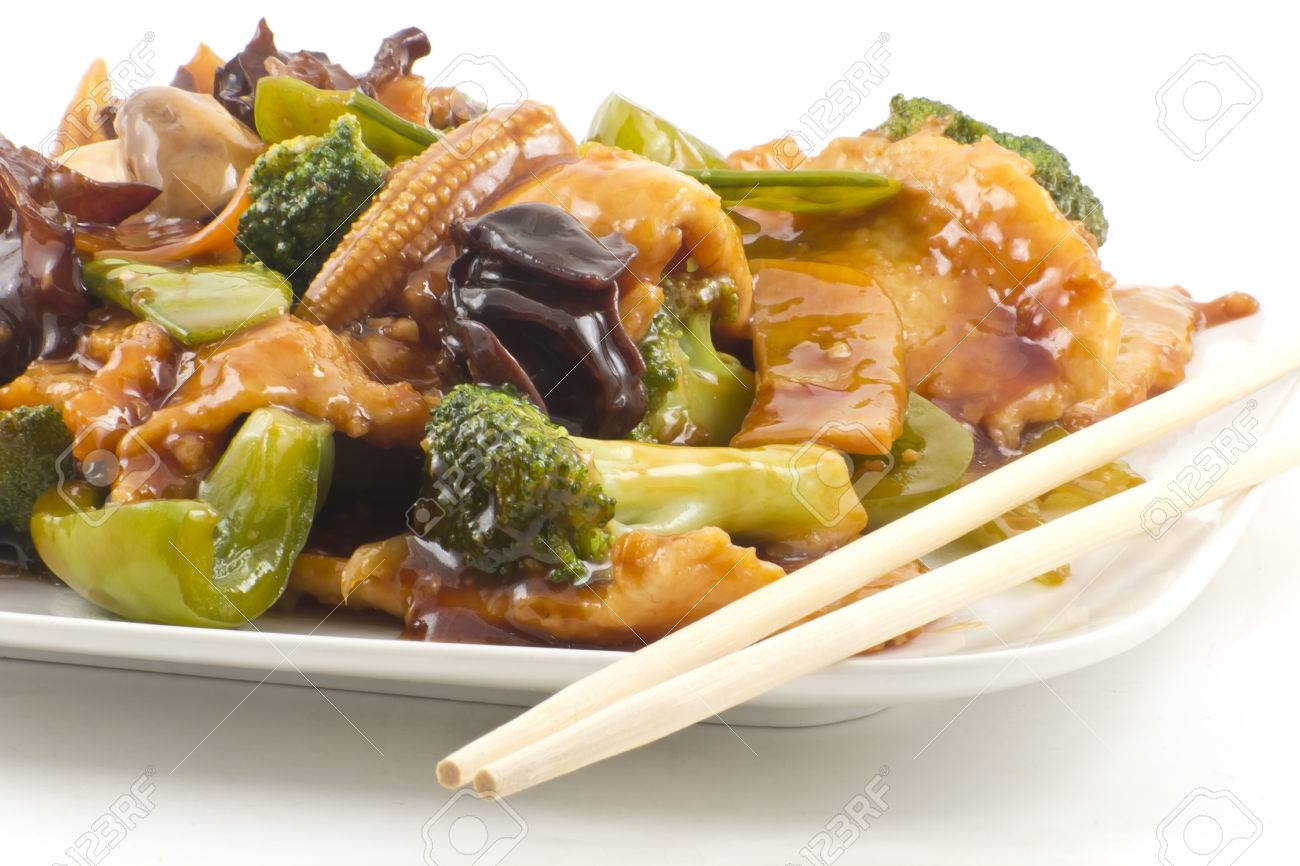 Yu shiang chicken with garlic sauce and sauteed mixed chinese stock photo yu shiang chicken with garlic sauce and sauteed mixed chinese vegetables forumfinder Gallery