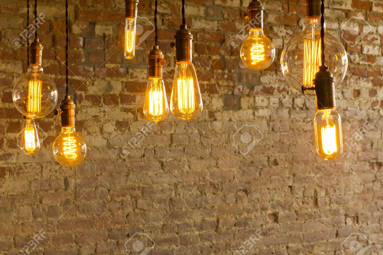 Decorative antique edison style light bulbs against brick wall decorative antique edison style light bulbs against brick wall background stock photo 37347813 arubaitofo Choice Image