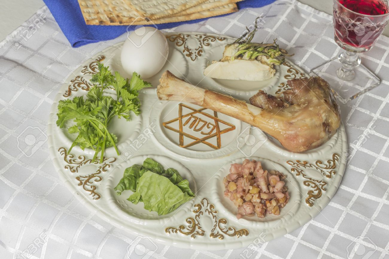 Jewish Seder Plate. Six Foods Make Up This Passover Meal. Stock ...