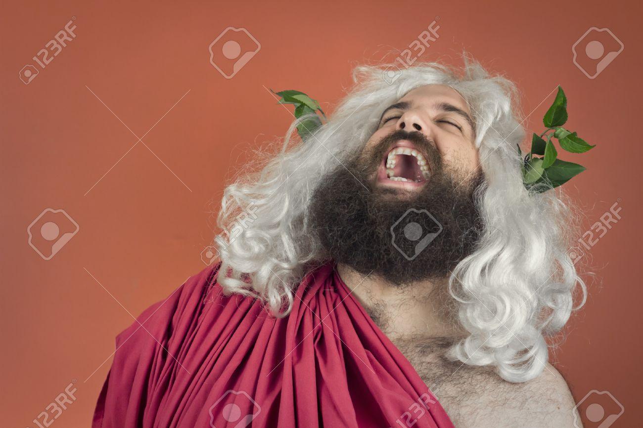Laughing zeus god or jupiter against orange background Stock Photo - 41256129