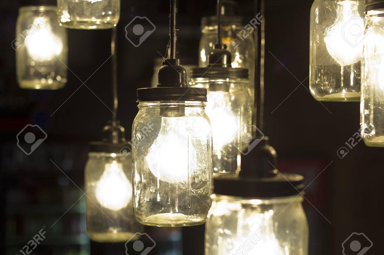 Decorative antique mason jar style light bulbs Stock Photo - 42134204