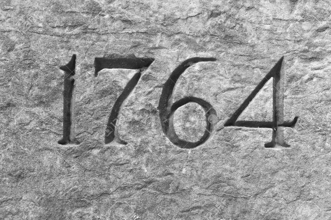 Granite wall with the year 1764 etched in stone Stock Photo - 42523817