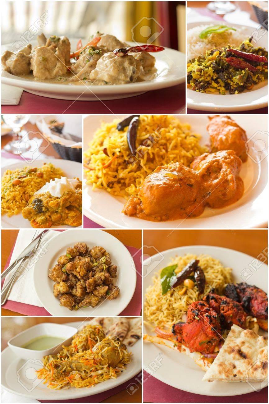 Variete De Plats De Cuisine Indienne Populaires En Imagerie Collage