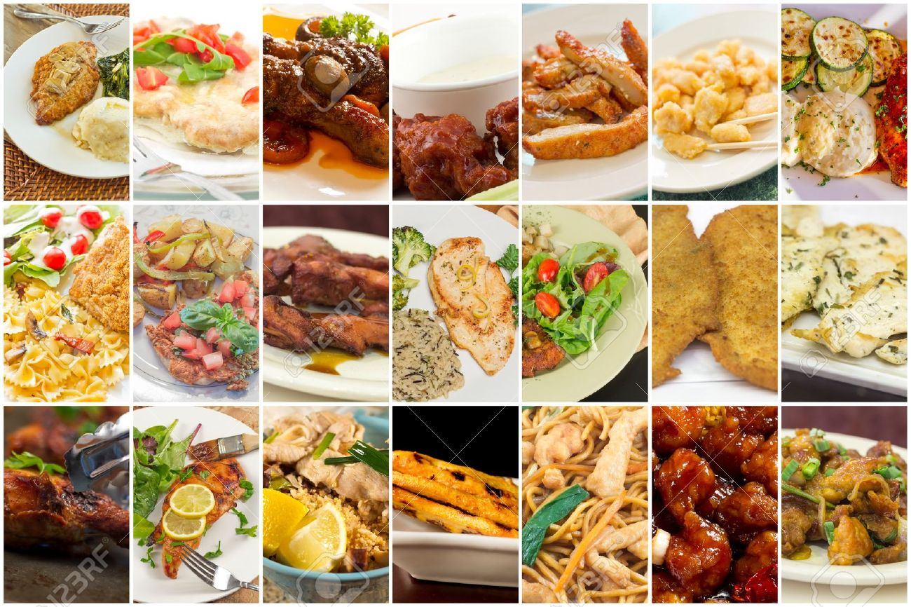 Variety Of Popular Chicken Dishes In Food Collage Imagery Stock