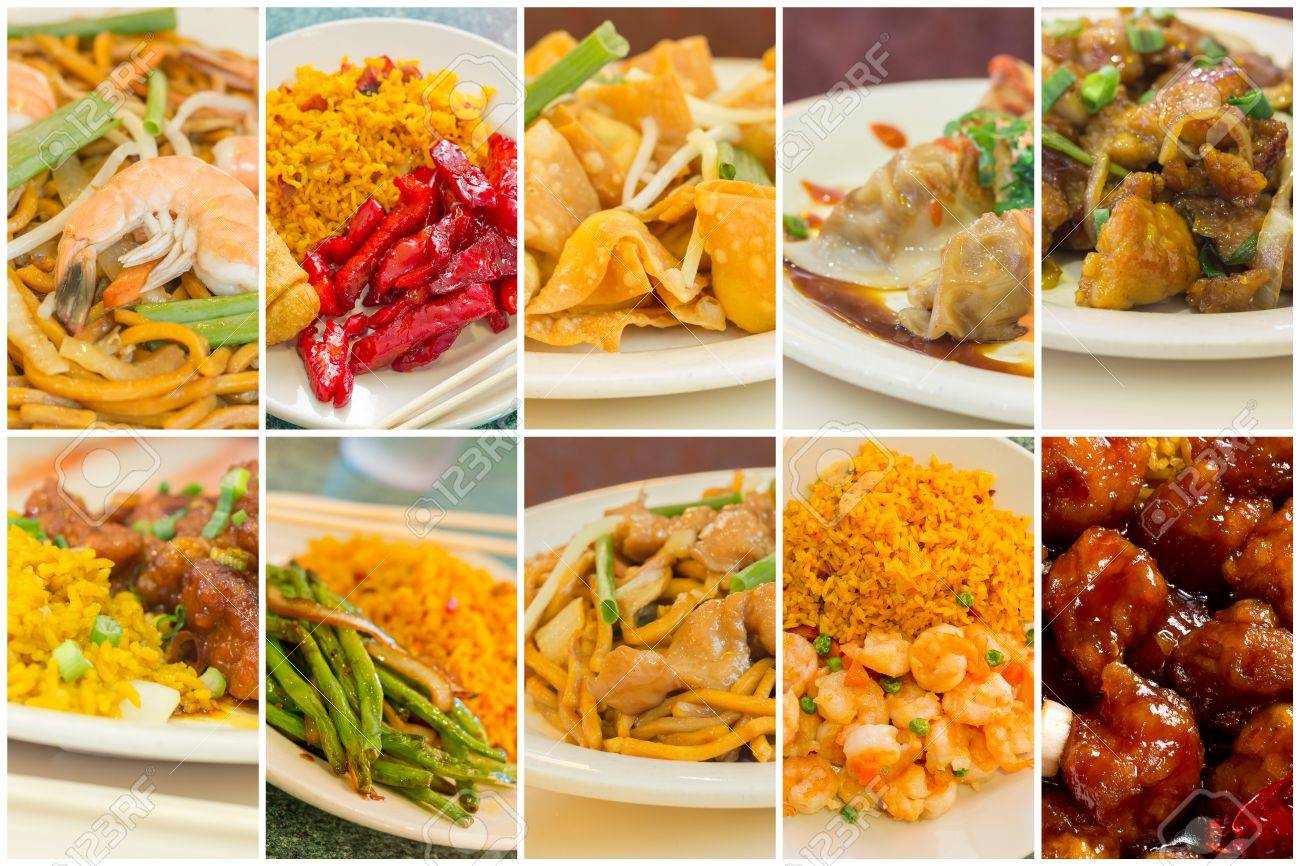 Various Popular Chinese Food Take Out Dishes In Collage Image Stock