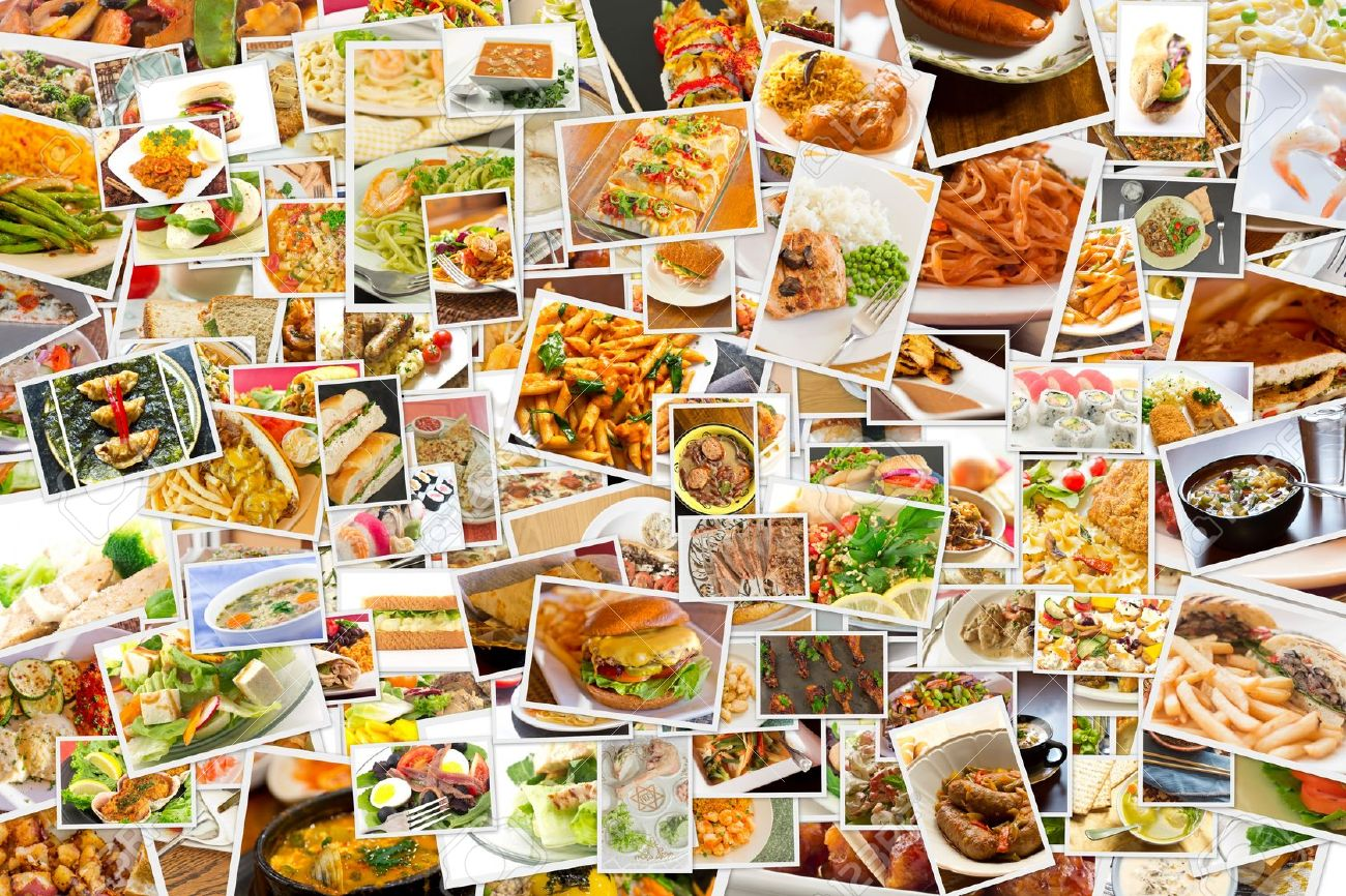 Collage of lots of popular worldwide dinner foods and appetizers Stock Photo - 42590633