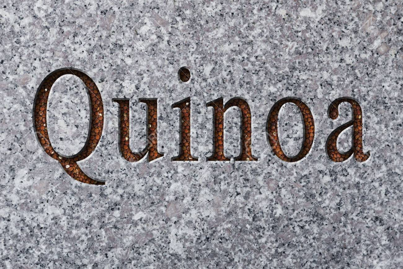Text Engraving Word Quinoa With Quinoa Grains Filling Up The ...