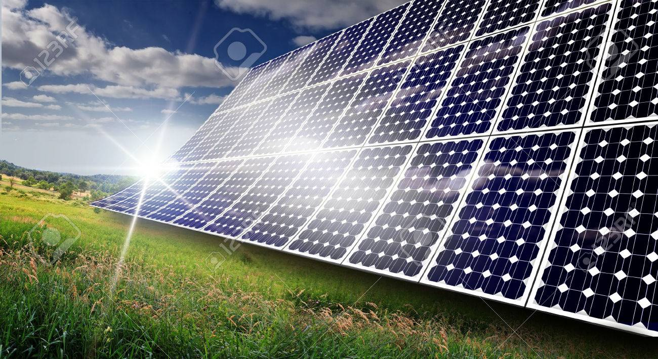 Solar panels absorbing the suns energy on hot summer day Stock Photo - 44643144