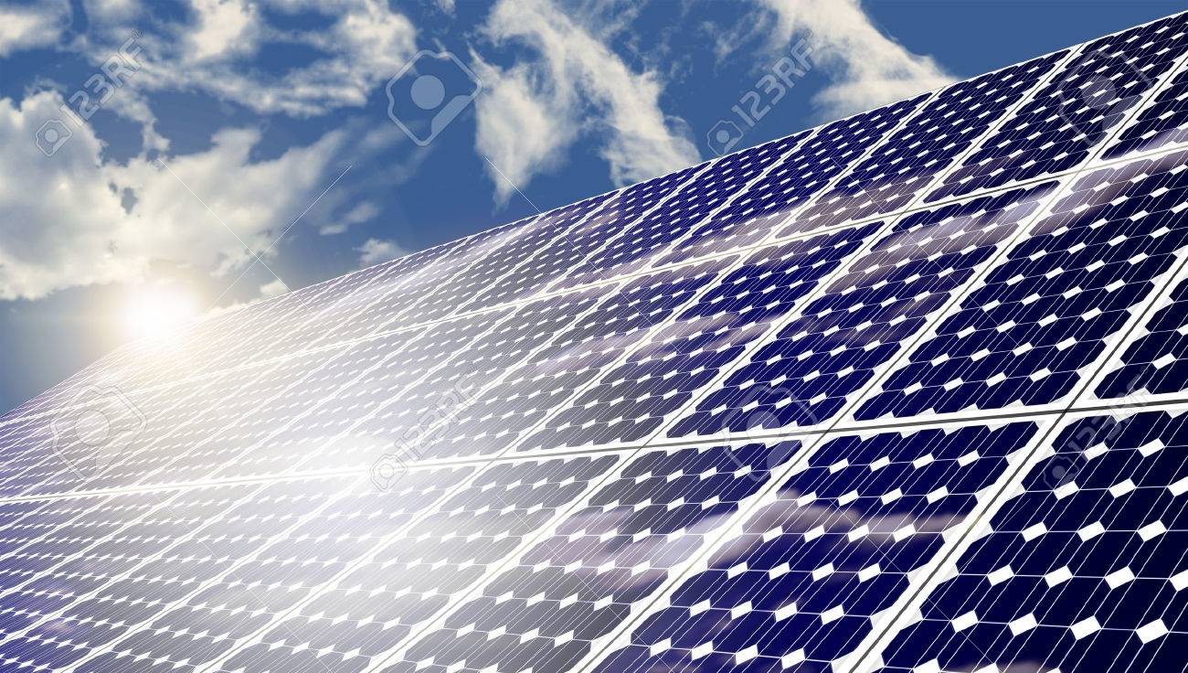 Solar panels absorbing the suns energy on hot summer day Stock Photo - 44643270