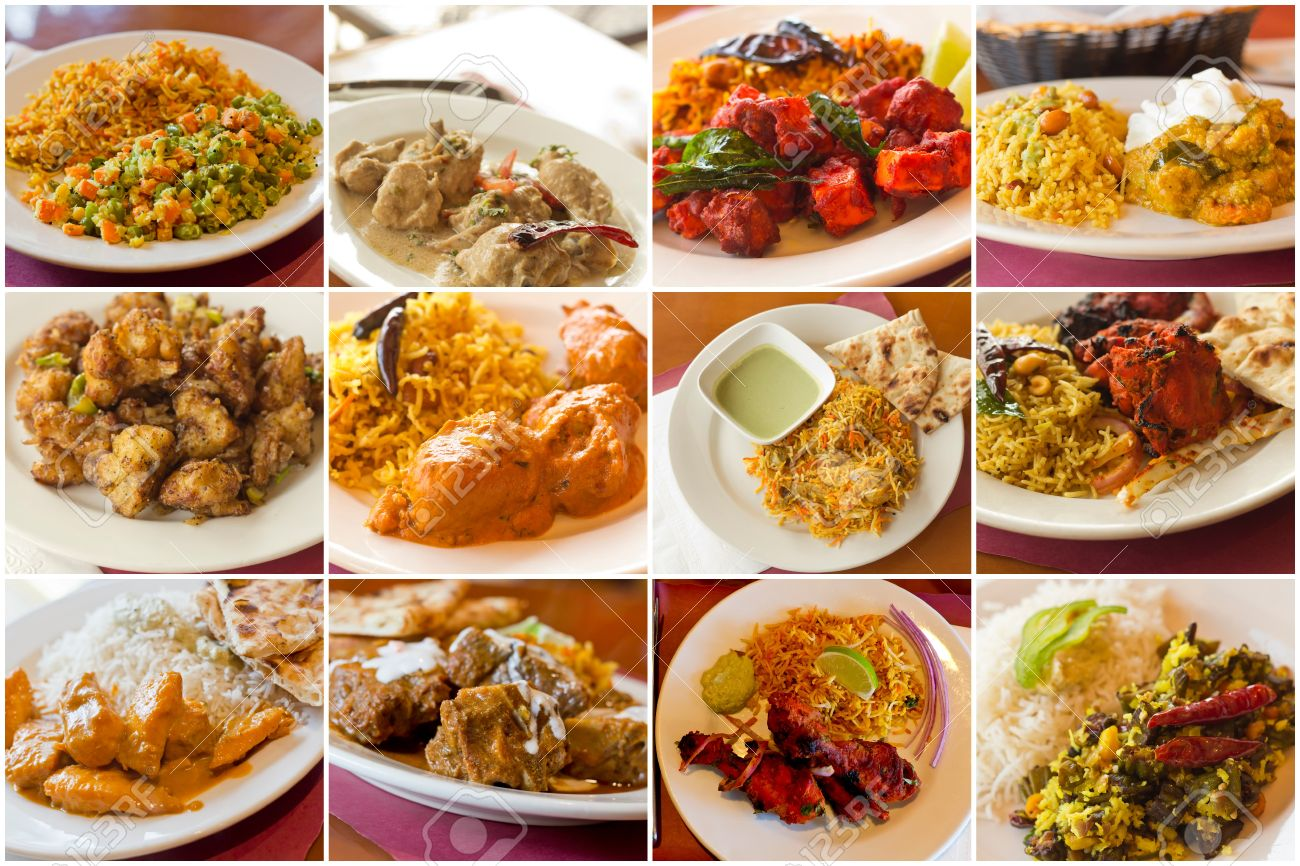 Variety Of Popular Indian Food Dishes In Collage Imagery Stock Photo