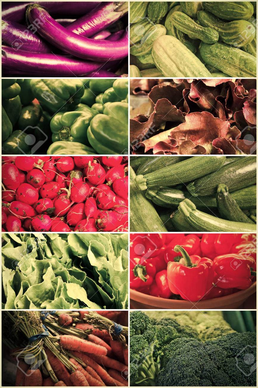 variety of popular farmers market vegetables in produce collage